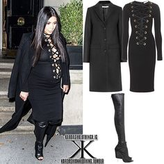 — @KimKardashian | NYC | September 14, 2015  #KimKardashian wore a @GivenchyOfficial Coat in black wool-blend felt, which you can purchase from net-a-porter.com for $2,657.42  She wore this with a #Givenchy 'Lace-Up Jersey' Dress, which you can purchase from mytheresa.com for $3,021  She also wore a pair of #Givenchy 'Stretch Nappa' Leather Boots, which you can purchase from modesens.com for $2,747