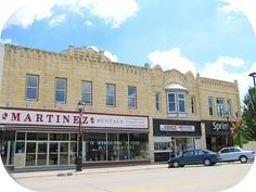 The downtown business buildings in Junction City, Kansas are nearly all constructed of local limestone.