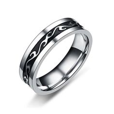 European American Style Retro Stainless Steel Dragon Tattoo Men's Ring For Men Silver Black C. - European American Style Retro Stainless Steel Dragon Tattoo Men's Ring For Men Silver Black Color - Dragon Tattoos For Men, Tattoos For Guys, Style Noir, Stainless Steel Rings, Punk, Engagement Jewelry, European American, European Men, Black Rings