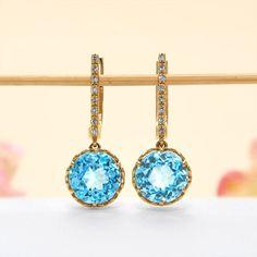 14k Yellow Gold Diamond, Swiss Blue Topaz Hoop Earrings