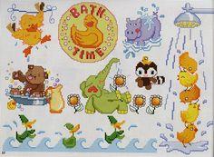 Gráficos de Ponto Cruz: Gráficos de bichinhos no banho para bebês em ponto cruz