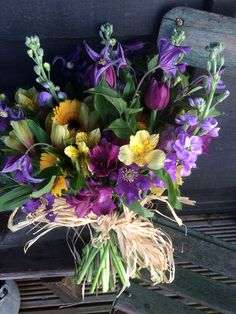 Yellow and purple bouquet Floral Wreath, Bouquet, Barn, Wreaths, Yellow, Purple, Flowers, Plants, Home Decor