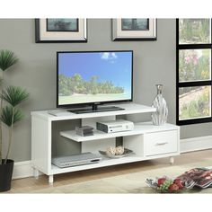Convenience Concepts Designs2Go Seal II 60-inch TV Stand (White)