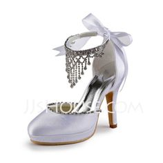 Satin Upper Stiletto Heel Closed Toe With Rhinestone Wedding/ Party Shoes (047005114)
