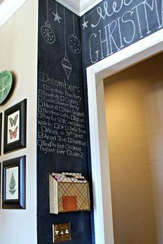 Dimples and Tangles: KITCHEN CHALKBOARD WALL. Absolutely love this idea! great way to know what needs doing for Holidays, Birthdays or anything really. Chalkboard Wall Kitchen, Blackboard Wall, Chalk Wall, Chalkboard Ideas, Chalk Board Kitchen Wall, Black Chalkboard, Chalk Paint, Sweet Home, Decoration Christmas