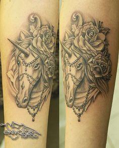UNICORN ROSE PEARLS.. ekivolos tattoo