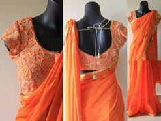 Designer blouse with saree - VIKA Boutique