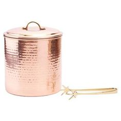 Old Dutch Decor Hammered Copper Ice Bucket with Tongs - 876