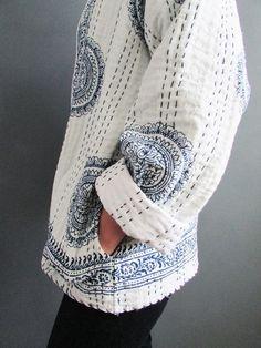 new batch of kantha stitched kimono jackets has just hit indigowares - Women Kimono Jackets - Ideas of Women Kimono Jackets Kimono Jacket, Kimono Cardigan, Kimono Fashion, Boho Fashion, Boro Stitching, White Kimono, Sashiko Embroidery, Art Textile, Textiles