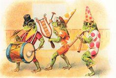 Frog Musicians Marching Band Victorian Illustration Modern Postcard #2