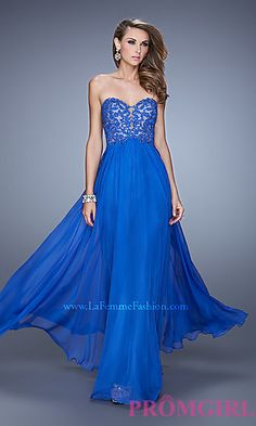 Long Strapless Sweetheart Dress by La Femme at PromGirl.com