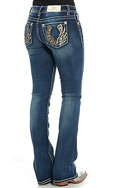 Miss Me Women's Dark Wash Tribal Embroidery Boot Cut Jeans Country Girls Outfits, Western Outfits, Jean Outfits, Girl Outfits, Kevlar Jeans, Country Apparel, Western Style Shirt, Bling Jeans, Shopping