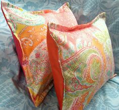 JAMAICA CORAL Paisley Pair Custom Made BOUDOIR by Sew1Pretty, $24.00