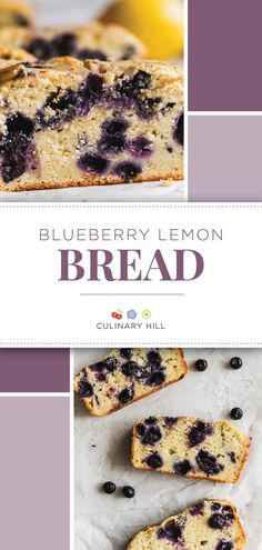 An easy recipe for Blueberry Lemon Bread. Start with soft and sweet lemon bread made with Greek yogurt, then add juicy blueberries - fresh or frozen, your choice! You'll love this quick bread for breakfast, brunch, lunch, and dessert! Blueberries and lemons are made for each other. #blueberrylemonbread #lemonbread #summersweets #culinaryhill