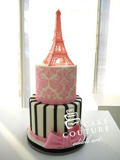 Bridal shower cake Cake by Cake Couture - Edible Art Paris Themed Cakes, Paris Cakes, Pretty Cakes, Beautiful Cakes, Amazing Cakes, Fondant Cakes, Cupcake Cakes, Eiffel Tower Cake, Bridal Shower Cakes