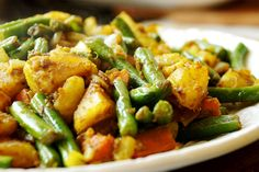 Curried Potato and Green Beans with Onions and Carrots - Recipes, Starch Foods, Vegetables - Divine Healthy Food