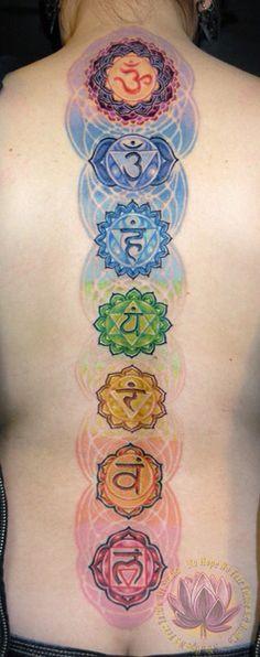 Beautiful Seven Chakra Tattoo. Crown, Third Eye, Throat, Heart, Solar Plexus, Sacral, and Root.