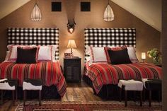 love the checked headboards--eclectic bedroom by Design Associates - Lynette Zambon, Carol Merica