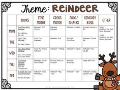 Tot School: Reindeer {Plans and Printables} - Mrs. Daycare Lesson Plans, Infant Lesson Plans, Lesson Plans For Toddlers, Daycare Curriculum, Homeschooling, Daycare Themes, Preschool Themes, Preschool Lessons, Preschool Learning