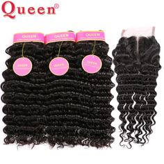 7A Brazilian Deep Wave With Closure Queen Hair Products With Closure 4pcs Brazilian Deep Curly Human Hair With Lace Closure A+ //Price: $53.32 & FREE Shipping //     #hairextension #style #beauty #woman #love