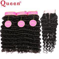7a 브라질 깊은 웨이브 폐쇄 queen hair 제품 폐쇄 4 개 브라질 깊은 곱슬 인간의 머리 lace closure +