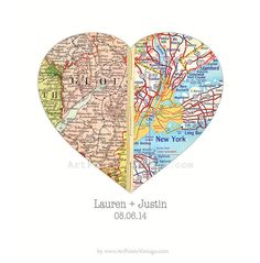Customized map art, great as an engagement gift, wedding gift or first anniversary (paper anniversary).