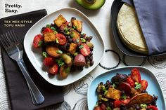 Tex Mex-Style Tofu Hash Recipe - about 300 calories per serving (not including tortillas, sour cream, or avocados)