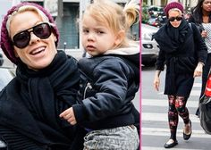 """Pink and Family's L'Avenue Lunch -                                     Spending time as a family in the City of Lights, Pink, Carey Hart, and their daughter had lunch at L'Avenue restaurant in Paris on Tuesday (April 16).  The """"Raise Your Glass"""" sing"""