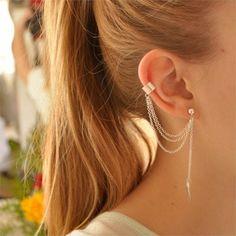 1 pz nuovo foglio di modo della clip dell'orecchio della nappa lunga ciondola gli orecchini per le donne in       Trendy marchio della lega d'argento di cristallo orecchini doppi balls ciondola gli orecchini di modo per le dda Orecchini di goccia su AliExpress.com   Gruppo Alibaba