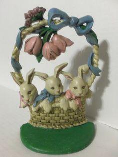 1980's Taiwan Cast Iron Door Stop Bunny Rabbits in Basket w Tulips | eBay