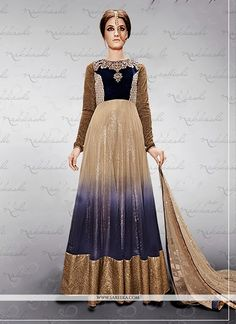 Beige And Blue Shaded Net And Velvet Anarkali Suit