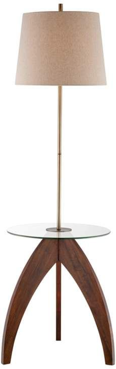 Wood Tripod Floor Lamp with Glass Tray Table - Living Room Lighting, Home Lighting, Antique Brass Floor Lamp, Desk Lamp, Table Lamp, Lamp Design, Interior Design Inspiration, Lamp Light, Glass Tray