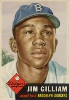 1953 Topps #258 Jim Gilliam Front Dodgers Baseball, Baseball Art, Baseball Teams, Baseball Players, Dodger Blue, Jackie Robinson, National League, Sports Art, Souvenirs