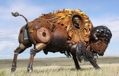 South Dakota artist John Lopez welds giant outsized beasts (including a triceratops being ridden by a cowboy) from scrap he salvaged from abandoned farm machinery. Step into his metal menagerie.