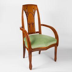French Art Nouveau Beach Wood Armchairs by Louis Majorelle
