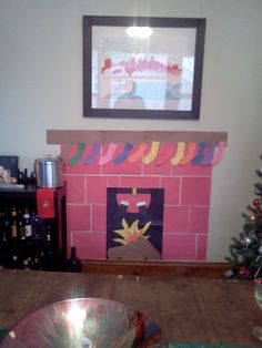 Fireplace made out of colored paper