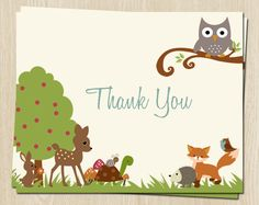 Woodland, Thank You Cards, Baby Shower, Birthday, Owl, Turtle, Fox, Rustic, 24 Folding Notes, FREE Shipping, FOFBY, Forest, Boy, Bunny by TheInviteLadyShop on Etsy https://www.etsy.com/listing/127514192/woodland-thank-you-cards-baby-shower