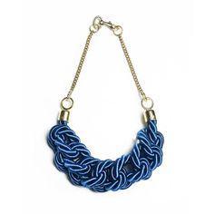 Blue Knotted Silk Rope Necklace by Lilla Balazs