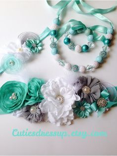 Dress sash , headband , necklace and bracelet set on Etsy, $11.99