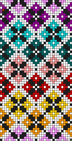 Diamonds plaid rainbow perler bead pattern Would make a great cross stitch patte. Diamonds plaid rainbow perler bead pattern Would make a great cross stitch pattern Bead Loom Patterns, Beading Patterns, Embroidery Patterns, Crochet Scarf Diagram, Crochet Chart, Crochet Pattern, Cross Stitching, Cross Stitch Embroidery, Hand Embroidery