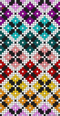 Diamonds plaid rainbow perler bead pattern