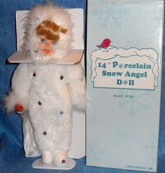 """PORCELAIN SNOW ANGEL DOLL 14"""" Christmas Special  Vintage  A9"""