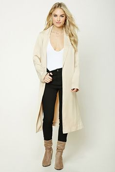 Forever 21 Contemporary - A longline satin coat featuring notched lapels, a chest welt pocket, vented sides, an open-front with a concealed hook closure, and long sleeves.