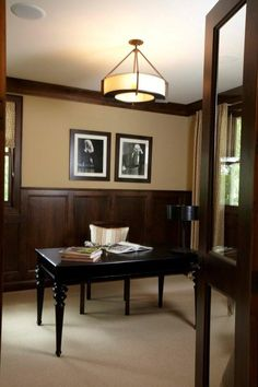 Ideas to update dark wood trim or panelling with the best paint colour  #wainscoting, AccentHaus.com