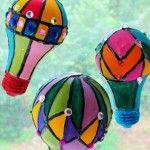 Hot Air Balloon Sun catchers - recycled light bulbs
