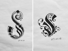 I made two sketches for S, initially I liked the one to the left more but after inking them, maybe not so much, that one reminds me of the 6 I did. I think I'll remove the top diamond. Both are ins...