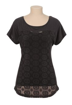 Scoop Neck Crochet Front Dolman Tee (original price, $24) available at #Maurices