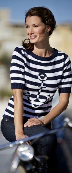 Nautical Sailor Stripes for Daytime Cruise Wear - http://boomerinas.com/2013/02/cruise-clothing-nautical-stripes-sailor-style/