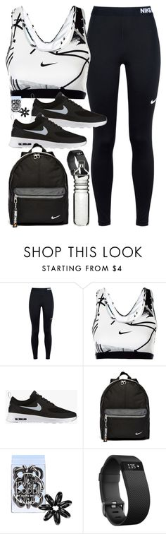 """Outfit for the gym with Nike items"" by ferned ❤ liked on Polyvore featuring NIKE, Invisibobble, Fitbit and Dot & Bo"