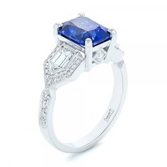 Custom Blue Sapphire and Diamond Engagement Ring | Joseph Jewelry | Bellevue | Seattle | Online | Design Your Own Ring